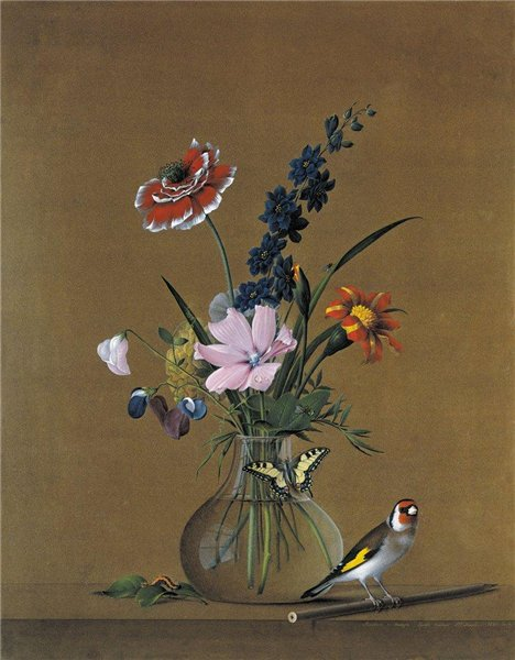 Ф. П.Толстой. Букет цветов, бабочка и птичка
